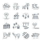 Set of thin line icons agriculture, farming Royalty Free Stock Photo