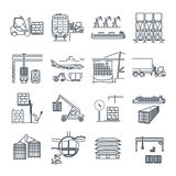 Set of thin line icons air, sea, rail freight terminal Stock Photography