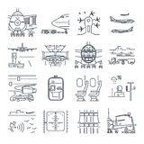Set of thin line icons airport and airplane, ground handling Stock Photo