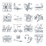 Set of thin line icons airport and airplane, terminal, runway Royalty Free Stock Image
