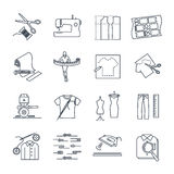Set of thin line icons apparel, clothing. Garment manufacturing, sewing process Stock Images
