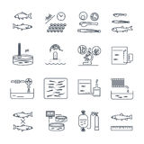 Set of thin line icons aquaculture production process. Fish farming Royalty Free Stock Photography