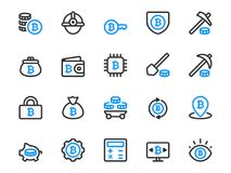 Set of thin line icons for bitcoin mining business. Collection of cryptocurrency icons in outline style Stock Images