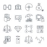 Set of thin line icons business, finance, money. Atm Stock Photo