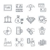 Set of thin line icons business, finance, money. Bank Royalty Free Stock Images