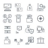 Set of thin line icons business, finance, money. Coin Royalty Free Stock Images