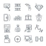 Set of thin line icons business, finance, moneybox. Set of thin line icons business, finance, money, moneybox Stock Photo