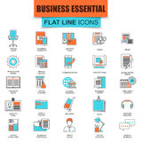 Set of thin line icons business tools, office essential equipment Stock Photography