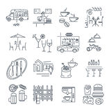 Set of thin line icons cafe, bar, restaurant, fast food Stock Image
