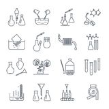 Set of thin line icons chemical laboratory equipment. And test-tubes Stock Images