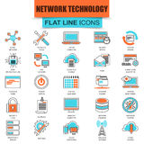 Set of thin line icons cloud data technology services Stock Image