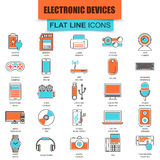 Set of thin line icons computer electronics and multimedia devices Stock Images