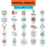 Set of thin line icons 3D printing and modeling technology Stock Image