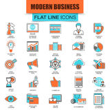 Set of thin line icons doing business using marketing technology ideas Royalty Free Stock Images