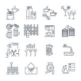 Set of thin line icons drinks and beverages, coffee Stock Photos