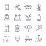 Set of thin line icons drinks and beverages production. Process Royalty Free Stock Image