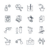 Set of thin line icons dry cleaning and laundry service. Production process Royalty Free Stock Photo