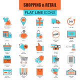 Set of thin line icons e-commerce, internet shopping. Retail store and online sales. Modern mono flat linear concept pictogram, set simple outline icon symbol Royalty Free Stock Image