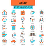 Set of thin line icons ecological energy source, environmental safety Stock Image