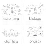 Set of thin line icons. Educational and science concept. School subjects. Set of thin line icons. Educational and science concept royalty free illustration