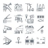 Set of thin line icons electrical equipment, technology Stock Photography