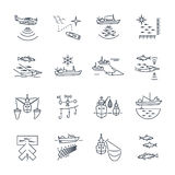 Set of thin line icons fishing process. Set of thin line icons commercial fishing process Stock Photo