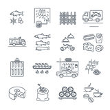 Set of thin line icons food and beverages, meal, drinks Stock Photo