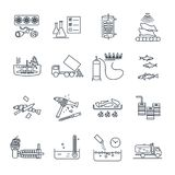 Set of thin line icons food, meal production process. Cooking Royalty Free Stock Images