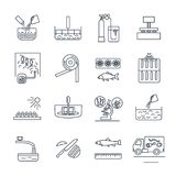 Set of thin line icons food, meal production process, cooking Stock Images
