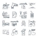 Set of thin line icons fuel, gas, oil transport, production. Industry stock illustration