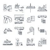 Set of thin line icons fuel, gas, oil transport, production Stock Photo