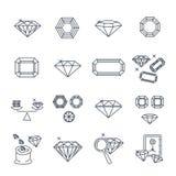 Set of thin line icons gemstone, jewelry, brilliant. Set of thin line icons gemstone, brilliant Stock Photos