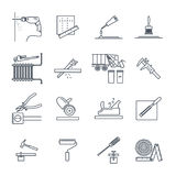 Set of thin line icons home repair, construction, tool Stock Photos