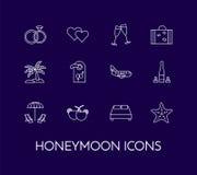 Set of thin line icons with honeymoon symbols Wedding trip royalty free illustration