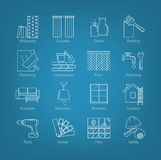 A set of thin line icons for house design, repair, construction, decoration, renovation. Including tolls, activities and Royalty Free Stock Photo