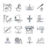 Set of thin line icons house repair, work, tool Royalty Free Stock Photography