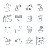 Set of thin line icons household chemicals, cleaner Stock Image