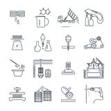 Set of thin line icons industrial production, making process. Factory, equipment royalty free illustration