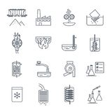 Set of thin line icons industrial production, manufacturing Stock Photos