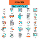 Set of thin line icons internet education and online course study. E-learning. Modern mono flat linear concept pictogram, set simple outline icon, symbol for Stock Photos