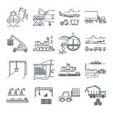 Set of thin line icons loading and unloading of goods Royalty Free Stock Photo
