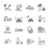 Set of thin line icons logging production Royalty Free Stock Photos