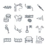 Set of thin line icons maintenance, repair of car and automobile. Set of thin line icons servicing, maintenance, repair of car and automobile Royalty Free Stock Images