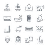 Set of thin line icons manufacture of beverages production Royalty Free Stock Photos