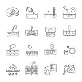 Set of thin line icons manufacture of cheese production Stock Images