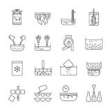 Set of thin line icons manufacture of dairy products production Stock Photo