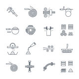 Set of thin line icons manufacture of wood Royalty Free Stock Images