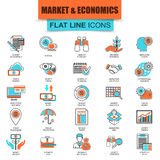 Set of thin line icons market and economics, financial services. Money savings. Modern mono flat linear concept pictogram, set simple outline icon symbol for Stock Images