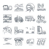 Set of thin line icons municipal city transport, utility Stock Photography
