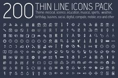 Set of thin line icons pictogram. For web and mobile infographic. Happy birthday, business, ofiice, digital, eco, sport vector illustration
